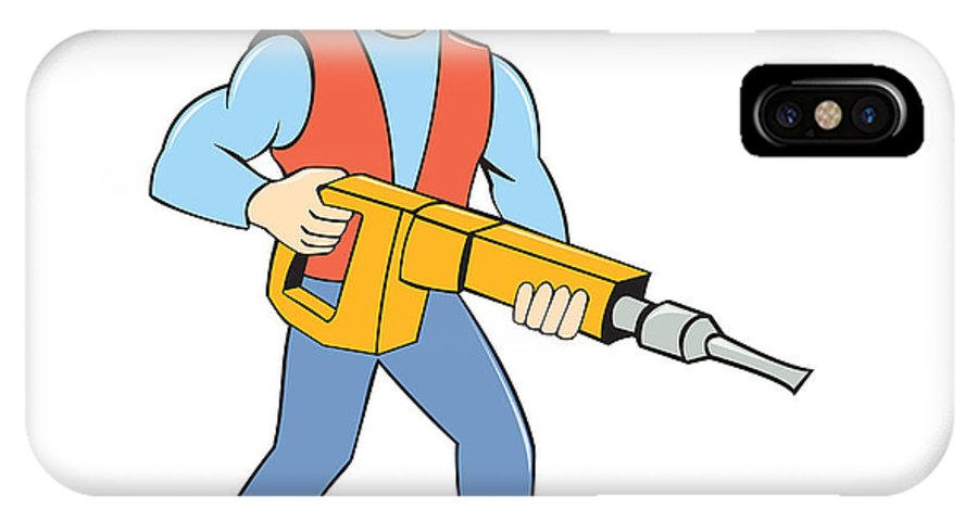 premium selection 83839 bb2a2 Construction Worker Holding Jackhammer Cartoon IPhone X Case