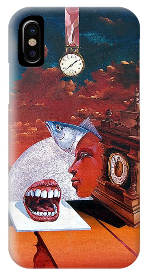Otto+rapp Surrealism Surreal Fantasy Time Clocks Watch Consumption IPhone X Case featuring the painting Consumption Of Time by Otto Rapp