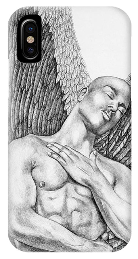 Male Angel IPhone X Case featuring the drawing Contemplating Black Male Angel by Dawn Rosendahl