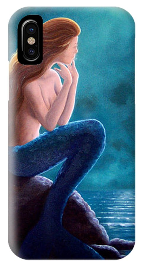 Mermaid Art IPhone Case featuring the painting Contemplation by Brenda Ellis Sauro
