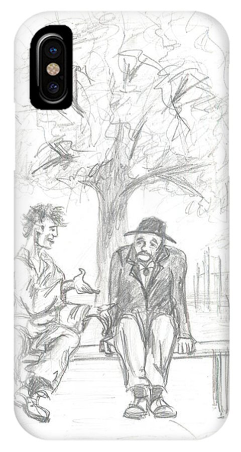 Conversation IPhone X Case featuring the drawing Conversation by Levon Saryan
