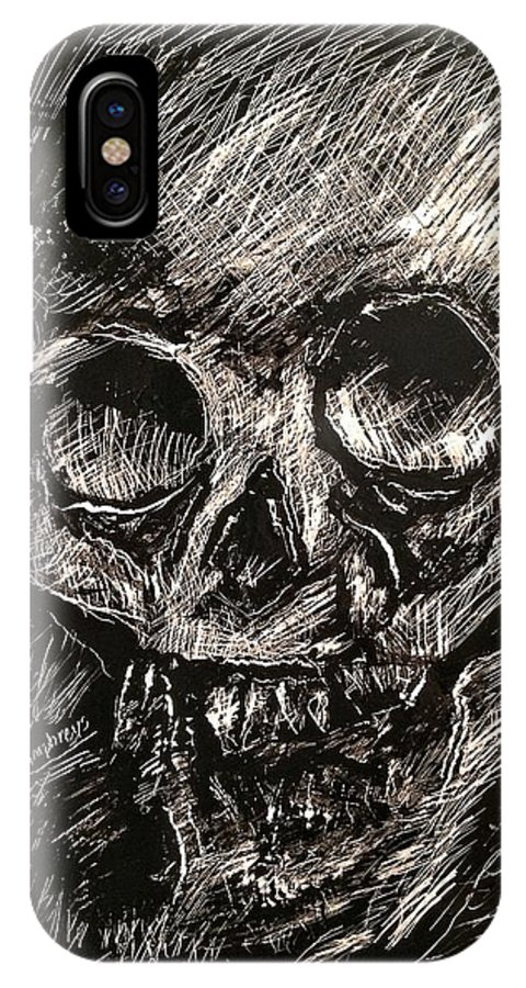 Memento Mori IPhone X / XS Case featuring the mixed media Convulsed Memento Mori by Patrick Humphreys