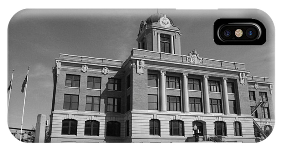 Cooke IPhone X Case featuring the photograph Cooke County Courthouse Bw by Robyn Stacey