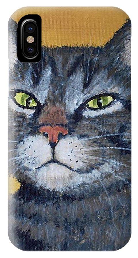 Malakhova IPhone X Case featuring the painting Cool Cat by Anastasiya Malakhova