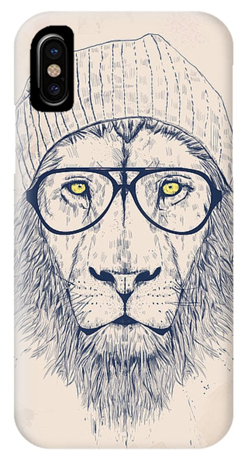 Lion IPhone X Case featuring the digital art Cool Lion by Balazs Solti