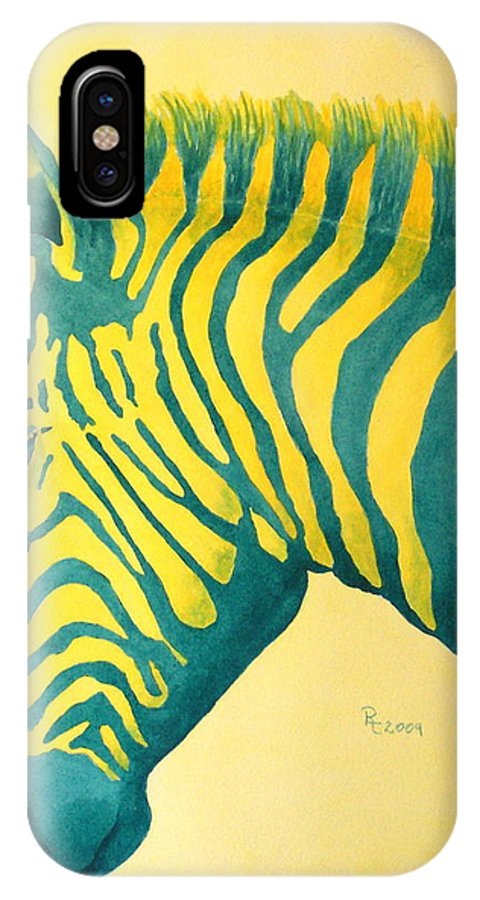 Zebra IPhone X Case featuring the painting Coolio by Rhonda Leonard