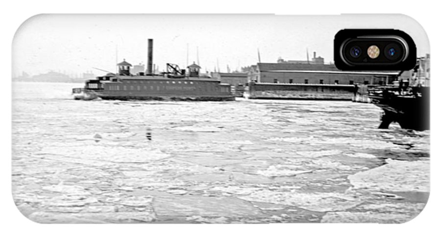 Cooper's Point IPhone X Case featuring the photograph Cooper's Point Barge Hudson River C 1900 by A Gurmankin