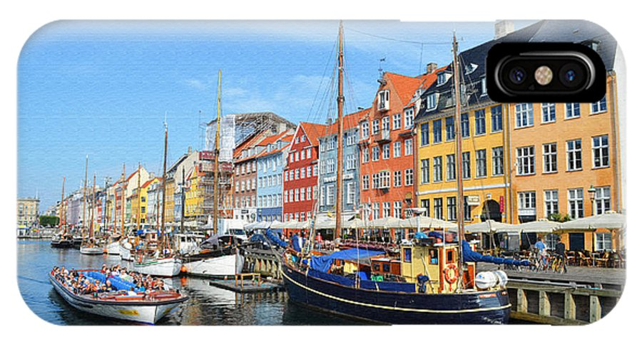Mode Of Transport IPhone X Case featuring the digital art Copenhagen Denmark Nyhavn District by Eva Kaufman