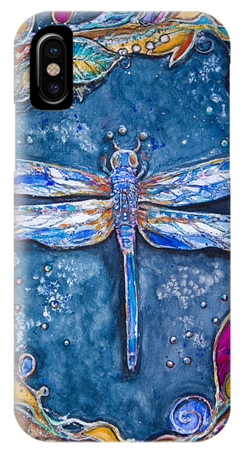 Art IPhone X Case featuring the painting Copper Dragonfly by Patricia Allingham Carlson