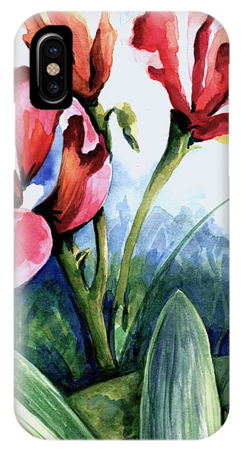 Floral IPhone X Case featuring the painting Coral Flower Study by Barbara Beck-Azar