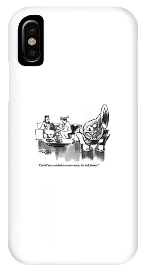 Relationships IPhone X Case featuring the drawing Cordell Has Switched To A More Music by Mischa Richter