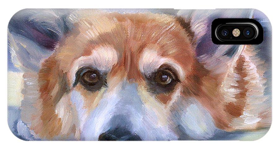Pembroke Welsh Corgi IPhone X Case featuring the painting Corgi Gazing by Lyn Cook