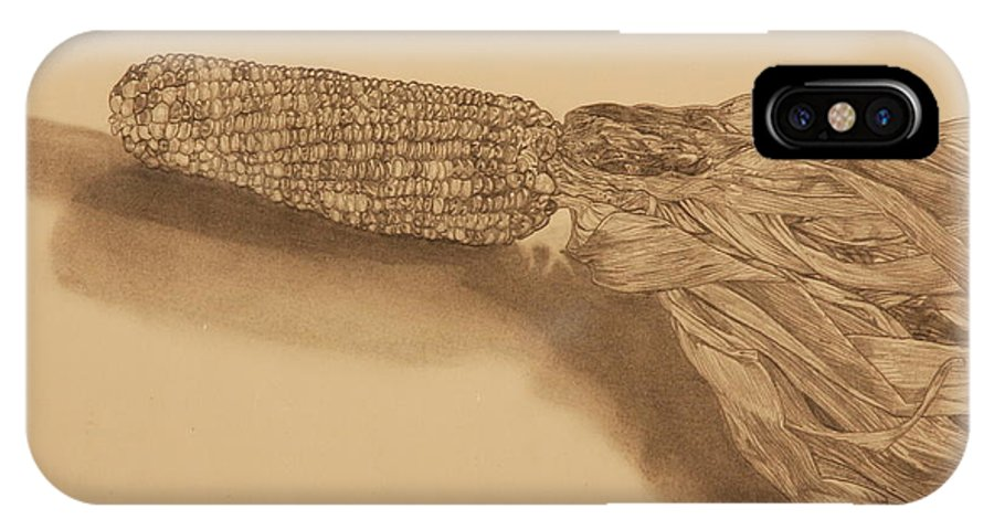 Corn IPhone X Case featuring the drawing Corn by Michelle Miron-Rebbe