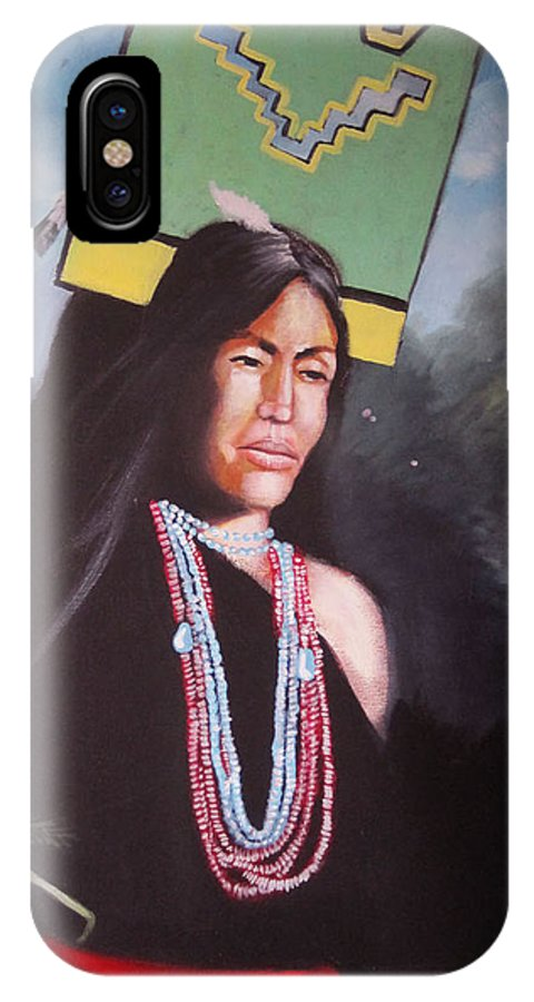 Pueblo Butterfly Dancer. IPhone X / XS Case featuring the painting Corn Mother by Franck Boistel