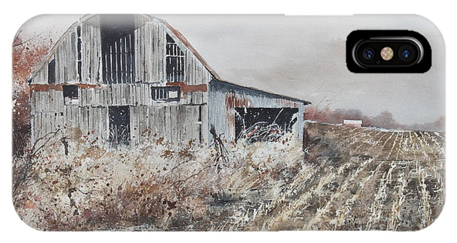 The Bones Of Yesterday's Barn In A Harvested Corn Field Of Southern Missouri Bask In The Sunlight Of A Winter Day.  IPhone X Case featuring the painting Corn Rows by Monte Toon