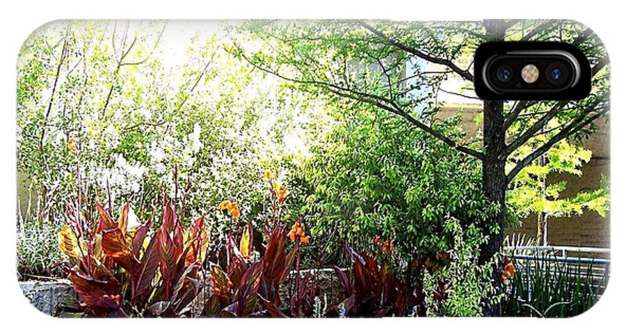 Deleas IPhone X Case featuring the digital art Corner Garden by Deleas Kilgore