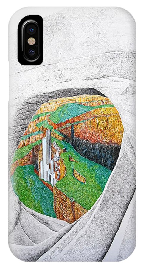 Rocks IPhone X Case featuring the painting Cornered Stones by A Robert Malcom