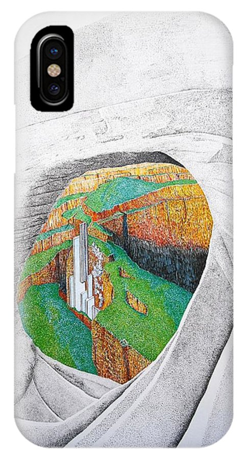 Rocks IPhone X / XS Case featuring the painting Cornered Stones by A Robert Malcom