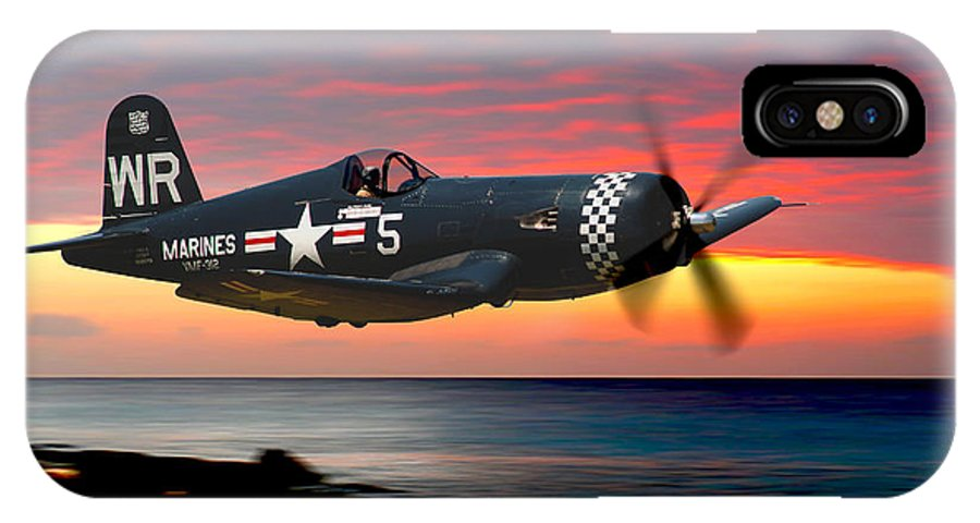 F4u IPhone X / XS Case featuring the photograph Corsair At Sundown by Craig Purdie