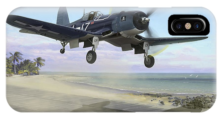 Airplane IPhone X Case featuring the painting Corsair Takeoff Vf-17 Jolly Rogers by Mark Karvon