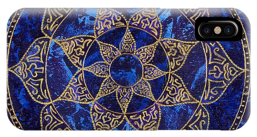 Mandala IPhone X Case featuring the painting Cosmic Blue Lotus by Charlotte Backman