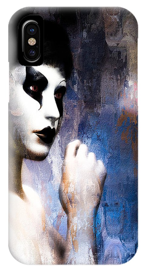 Mask IPhone X / XS Case featuring the painting Costume Of Control Version Two by Bob Orsillo