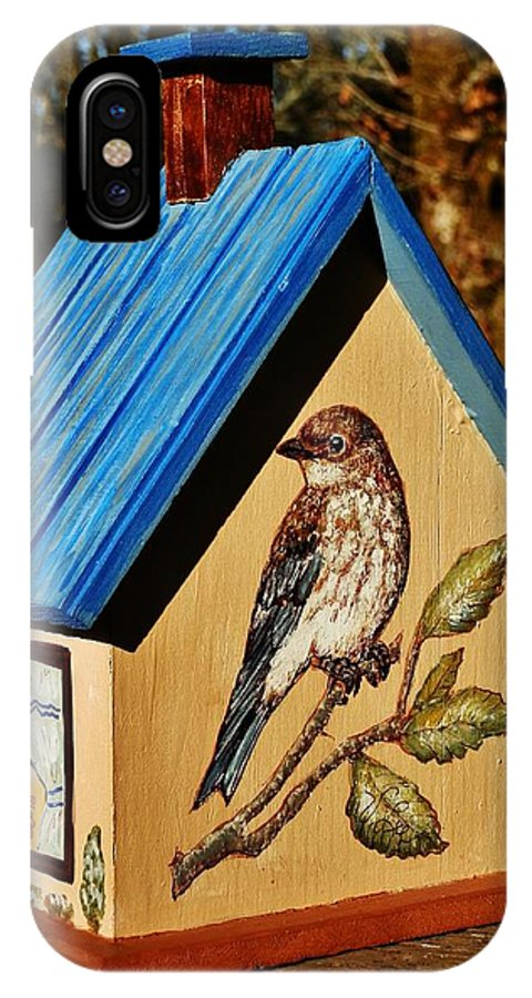 Birdhouse IPhone X Case featuring the painting Cottage Birdhouse-back by VLee Watson