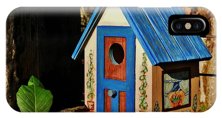Birdhouse IPhone X Case featuring the painting Cottage Birdhouse by VLee Watson