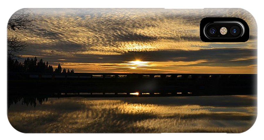 Sunset IPhone X Case featuring the photograph Cotton Ball Clouds Sunset by Marilyn MacCrakin