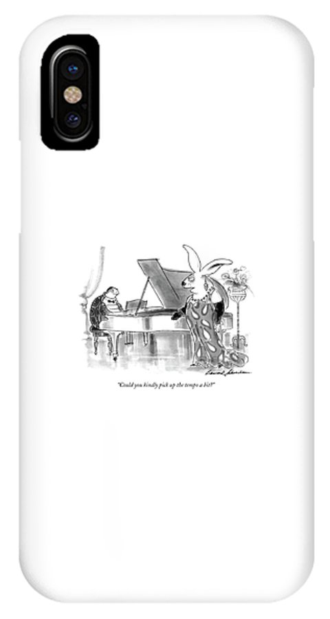 Animals IPhone X Case featuring the drawing Could You Kindly Pick Up The Tempo A Bit? by Bernard Schoenbaum