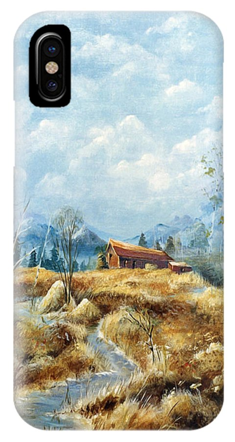 Nature IPhone X Case featuring the painting Country Farm by Anthony DiNicola