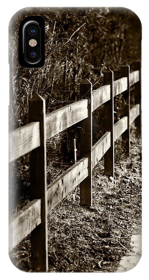 Sepia IPhone X Case featuring the photograph Country Fence Sepia by Kathleen Messmer