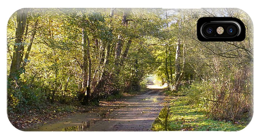Country Lane IPhone X Case featuring the photograph Country Lane In Autumn 3 by John Chatterley