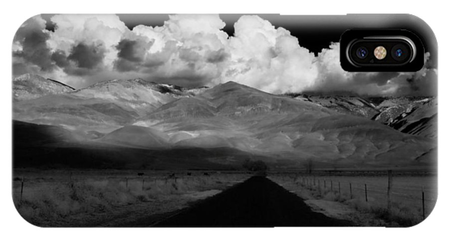 Clouds IPhone X Case featuring the photograph Country Road by Cat Connor