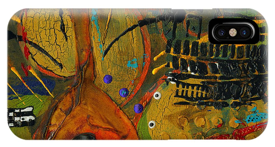Abstract Mixed Media IPhone X Case featuring the painting Country Songs Playing In The Background by Angela L Walker