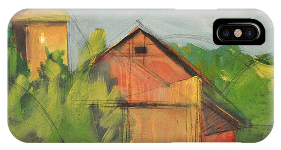 Barn IPhone X Case featuring the painting County Tt by Tim Nyberg