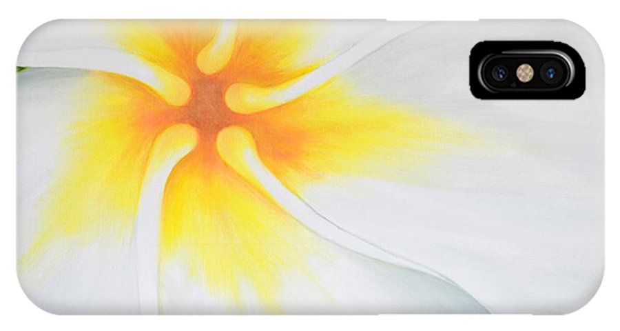 Plumeria IPhone X Case featuring the painting Courtade Gold Plumeria by Mary Deal