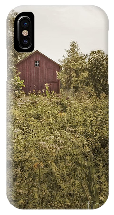 Old; Farm; Barn; Rural; Landscape; Outside; Outdoors; Roof; Small; Country; Countryside; Field; Red; Painted; Wood; Window; Wooden; Weeds; Grasses; Fence IPhone X Case featuring the photograph Covered Barn by Margie Hurwich