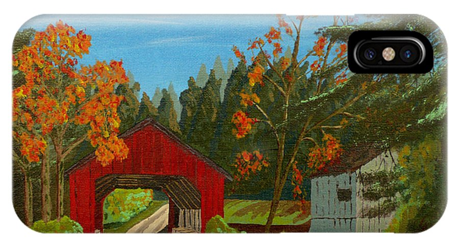Path IPhone Case featuring the painting Covered Bridge by Anthony Dunphy