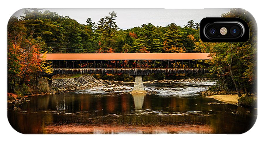 Landscape IPhone X Case featuring the photograph Covered Bridge Conway New Hampshire by Michael Donovan