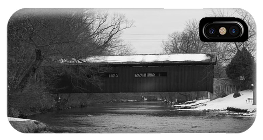 Winter IPhone X Case featuring the photograph Covered Bridge In Winter by Rob Luzier