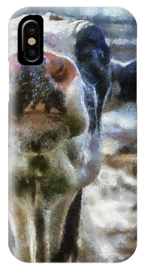 Animal IPhone X Case featuring the photograph Cow Kiss Me Photo Art by Thomas Woolworth