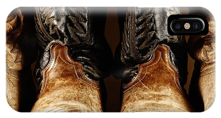 Cowboy IPhone X Case featuring the photograph Cowboy Boots In High Contrast Light by Lincoln Rogers