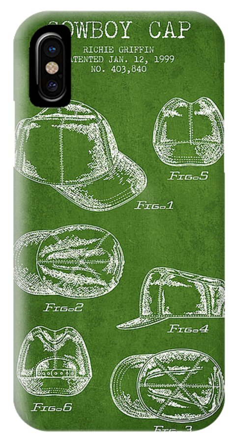 Cowboy Hat IPhone X / XS Case featuring the digital art Cowboy Cap Patent - Green by Aged Pixel