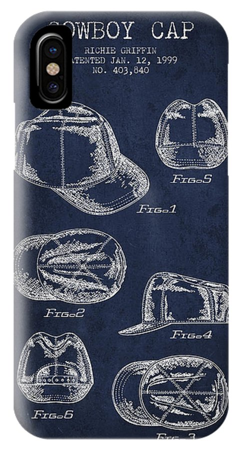 Cowboy Hat IPhone X / XS Case featuring the digital art Cowboy Cap Patent - Navy Blue by Aged Pixel