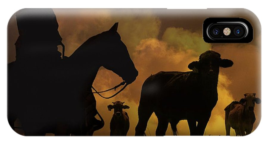 Steer IPhone X Case featuring the photograph Cowboy by Stephanie Laird
