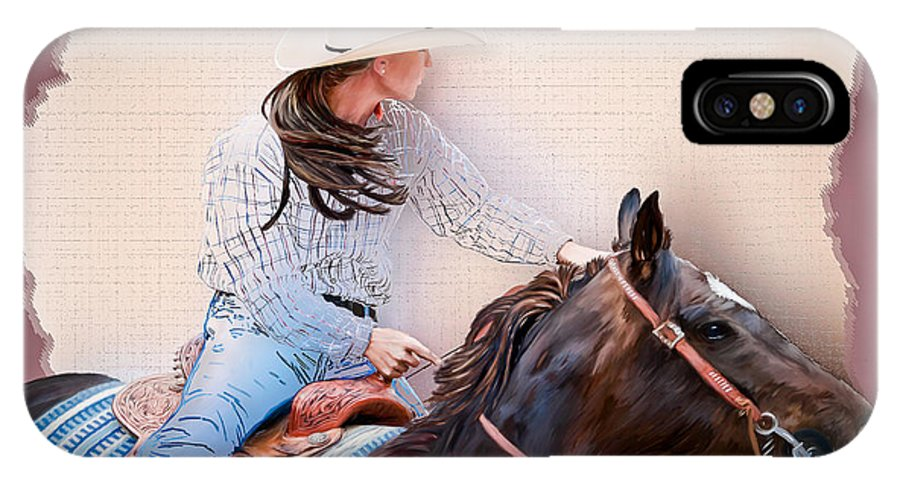 Cowgirl IPhone X Case featuring the painting Cowgirl Barrel Racing 2 by Char Doonan