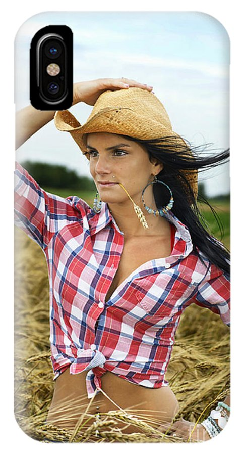 Cowgirl IPhone X Case featuring the photograph Cowgirl Holding Hat Vertical by Sylvie Bouchard