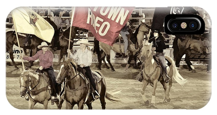 Cowtown Grand Entry Flags Horses Ladies IPhone X Case featuring the photograph Cowtown Grand Entry by Alice Gipson