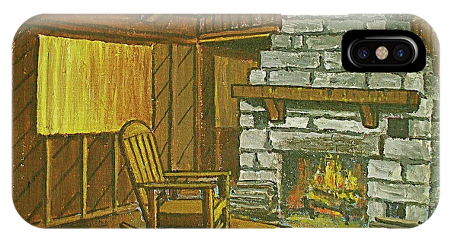 Cozy Fireplace Lake Hope Chimney Chair Yellow Curtains. IPhone X Case featuring the painting Cozy Fireplace At Lake Hope Ohio by Frank Hunter